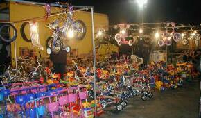 Bikes for sale at Indio open air, swap meet at night